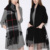 winter Unisex Reversible Long Scarf Check Shawl Cashmere Feel Stole with Pocket