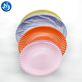 Disposable colorful round paper plate