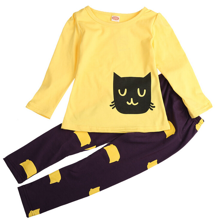 New Baby Kids Girls Long Sleeve Cartoon Kitten Top Casual Shirt+Leggings Pant Outfit 2Pcs Suit Set 2-7Y Clothes