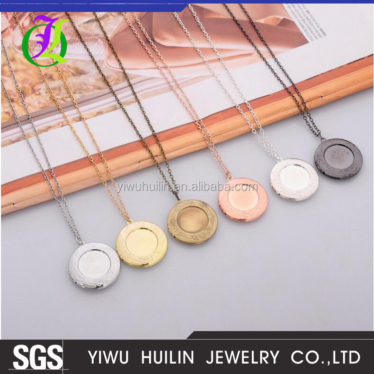 JTBC0061 Yiwu Huilin Jewelry Fashion carving multicolor round can put photo frame necklace sweater chain fashion jewelry
