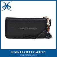 Leather wallet for lady wallet double zipper leather wallet women OEM service