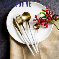 High Quality Luxury 304 Stainless Steel Knife Fork Spoon Tableware Cutlery Set Gold Plated Flatware Set for Home Restaurant