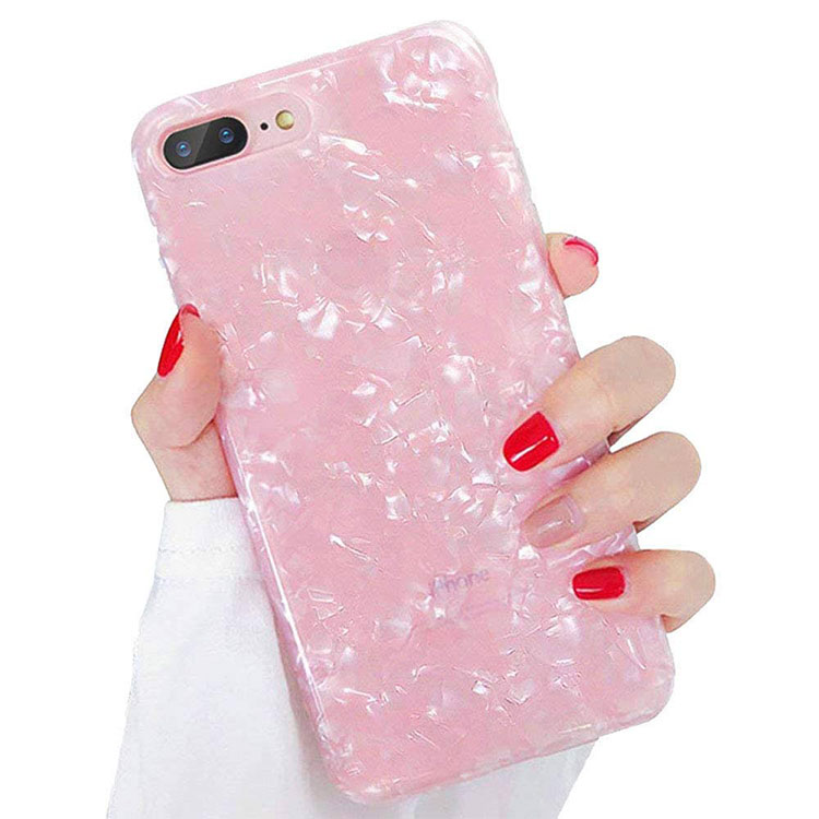 Transparent Soft TPU IMD Sea Shell Design Cell Phone Case for iPhone X 6 7 8 Plus