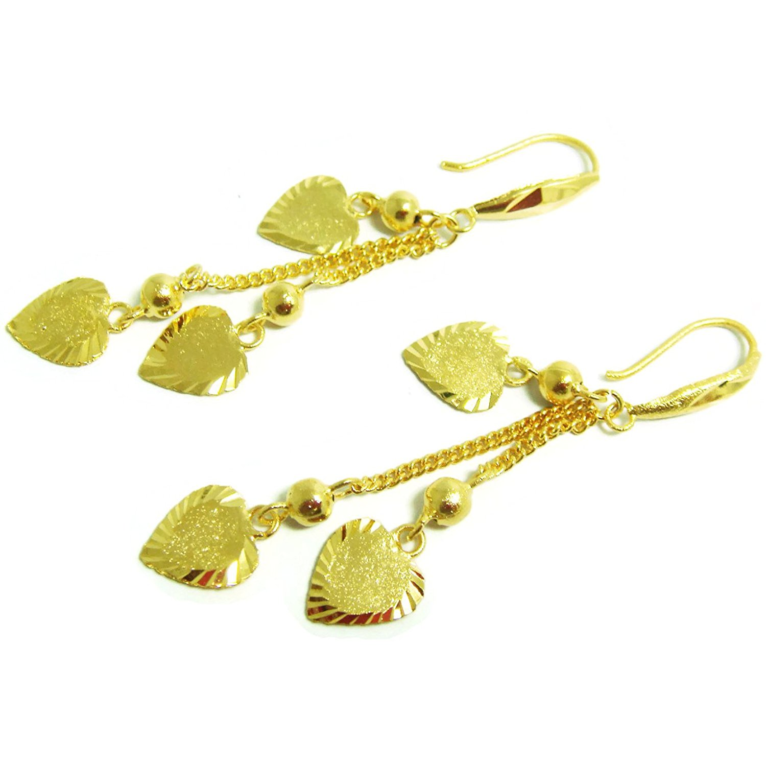 Get Quotations Earrings Drop Dangle 18k 22k 24k Thai Baht Yellow Gold Plated Filled Design From Thailand