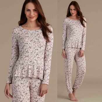 Soho Sleepwear Women Fashion Long Sleeve Floral Printed Pajamas Sleepwear  Wholesale Custom Made in China Pyjamas 196f58051