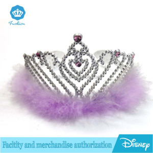 Wholesasle Purple Feather Crown Silver Cheap Plastic Head Crown Princess Crown with Diamond for Bridal