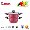 Aluminum pressed new kitchenware products non stick hot pot casserole set fire design coating double pans with S/S lid