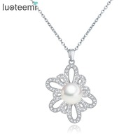 LUOTEEMI Gray Simulated Pearl Vintage Necklaces & Pendants White Gold Plated CZ Diamond Fashion Chain Jewelry For Women