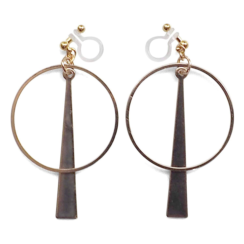 Miyabi Grace Women's Geometric Triangle Hoop Drop Invisible Clip On Earrings Gold tone