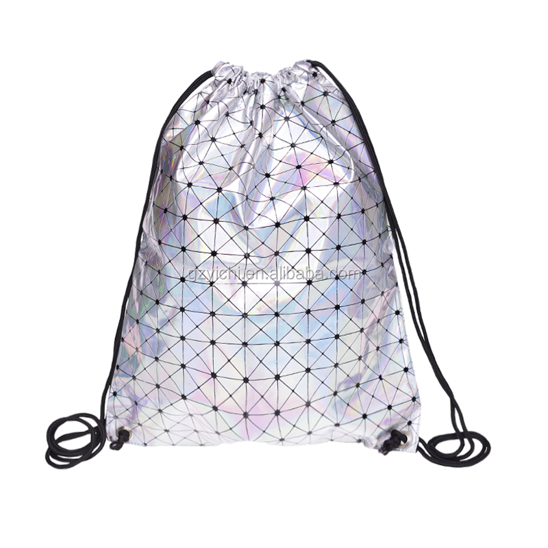 2017 fashion bag eco bag glitter backpack leather backpack holo graphic triangle