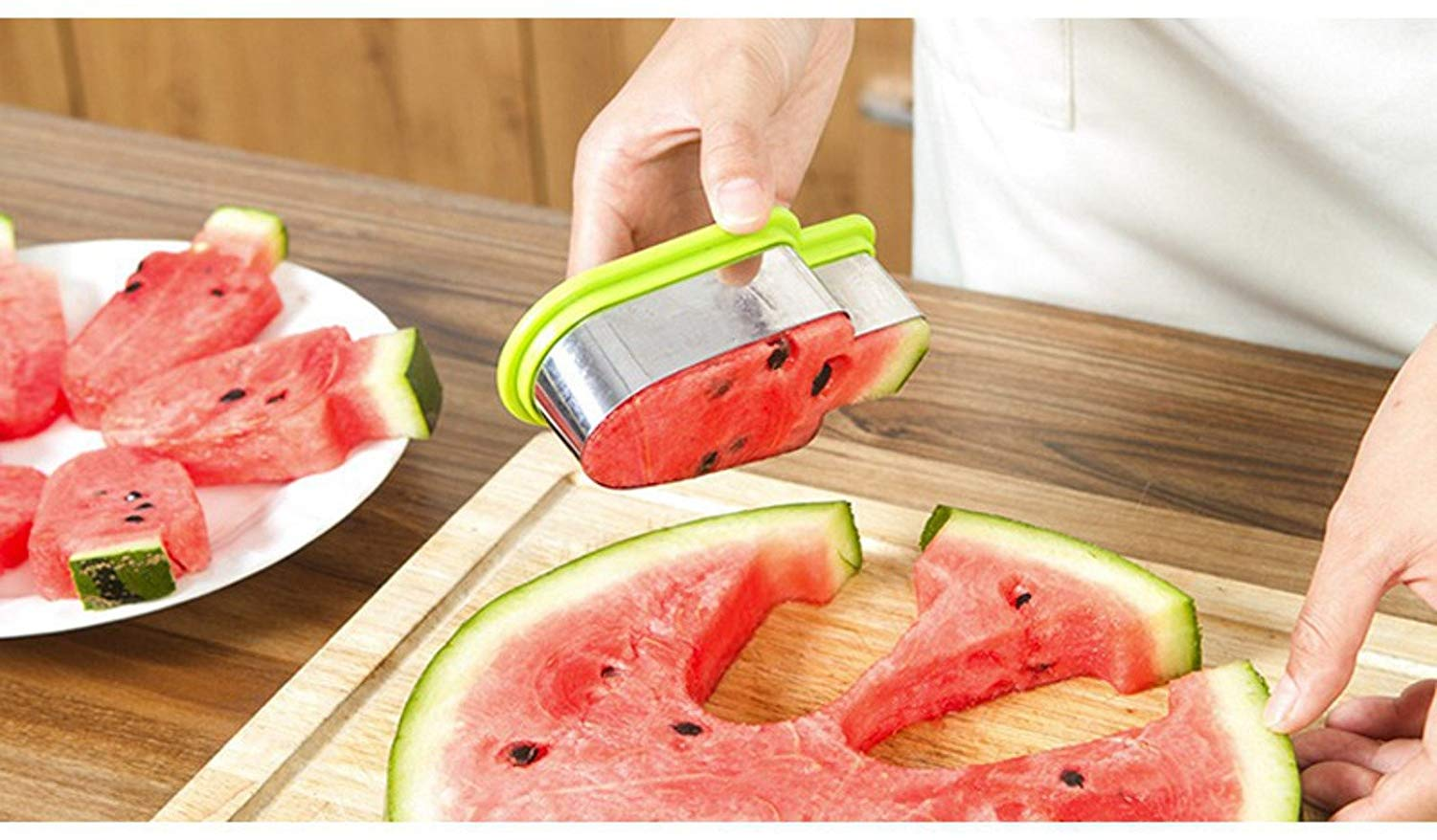 TSG GLOBAL 1PC Creative Watermelon Slicer Ice Cream Mold Vegetable Cutting Tool Kitchen Accessories Stainless Steel Popsicle Simple Form