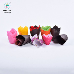 40gsm greaseproof paper disposable tulip paper cup square cupcake baking cups