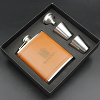 Top Food Grade Leather Wrapped portable stainless steel hip flask set