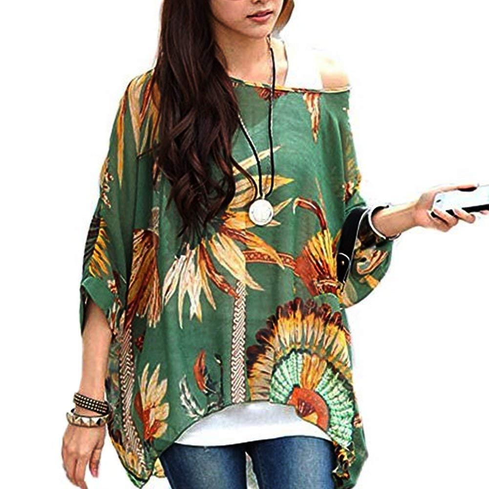 3277d9ded45c3 Get Quotations · JLTPH Women Batwing Chiffon Shirt Bohemian Floral Semi  Sheer Loose Blouse Tunic Tops