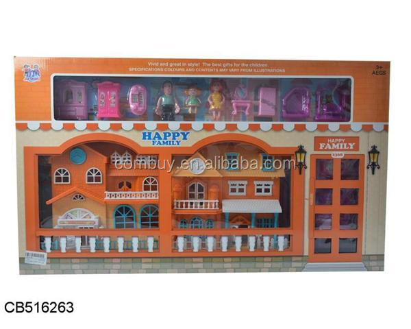 Plastic mini toy doll house furniture with light