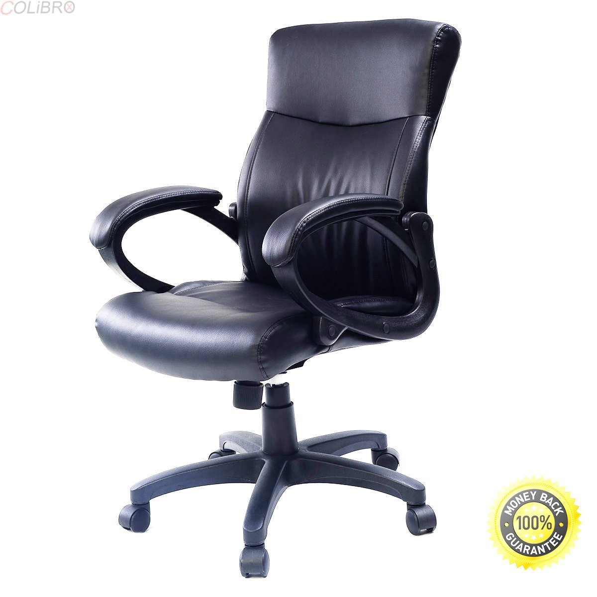 COLIBROX-- 2016 Style PU Leather Ergonomic Computer Desk Task Office Chair Black-Comfortable Arm Rests-New Modern Style-Solid construction