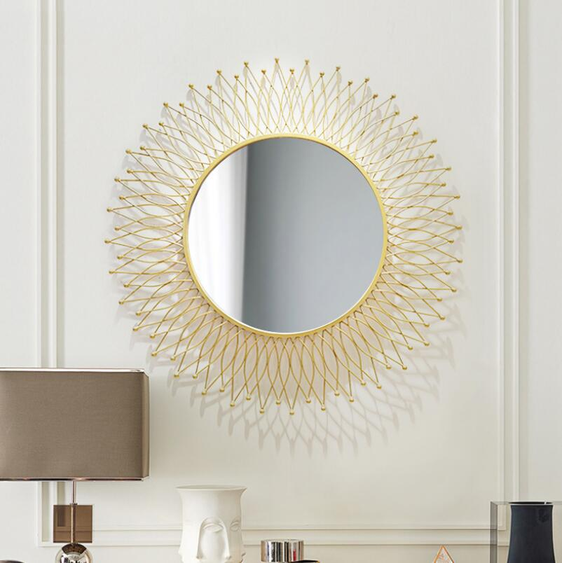 Golden Sunburst Metal Wall Hanging Mirror with iron for Living Room Hallway Decoration