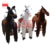 children play funny brown horse walking mechanical horse