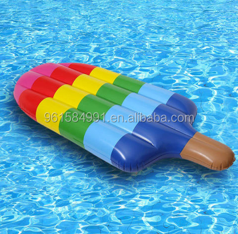 small MOQ stock inflatable plastic popsicle pool float air mattress bed water beach toys