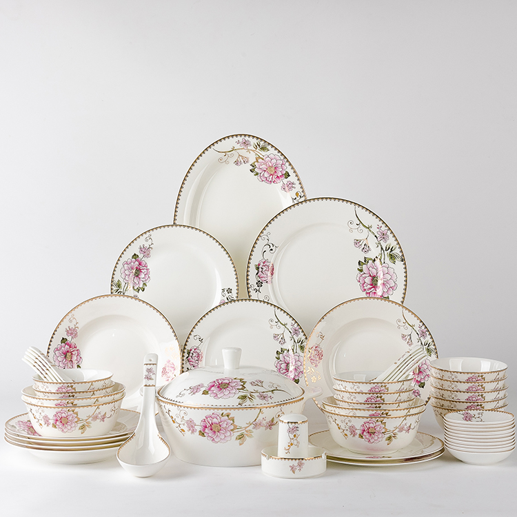 Hotel weeding luxury 50 pieces gold and flower decal Chinese style fine bone china ceramic dinnerware sets for 8 people