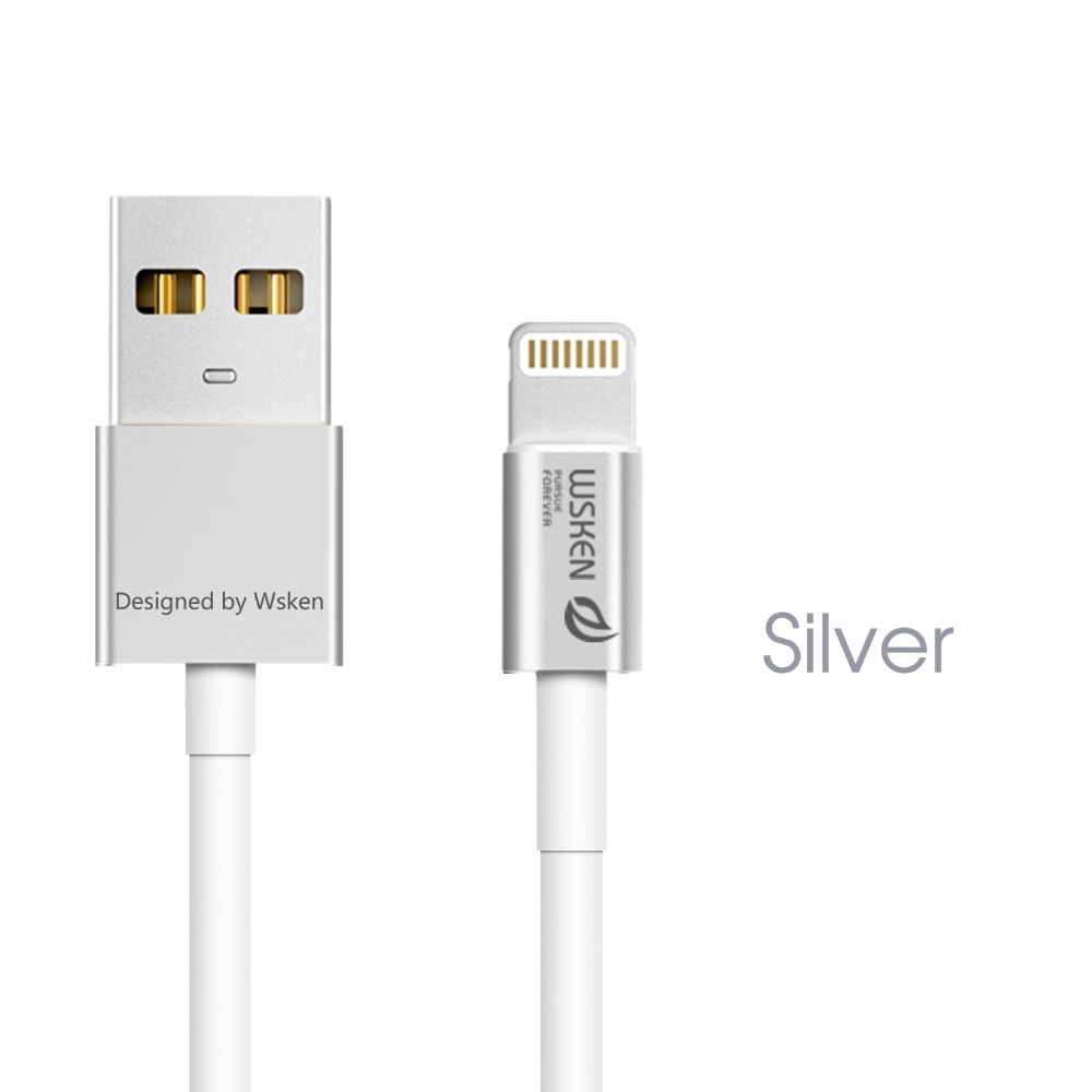 Wsken MFI Certified 2.4A cable for iphone 6s/5s 100cm Aerospace aluminum metal cable for ipad/ipod MT-6094