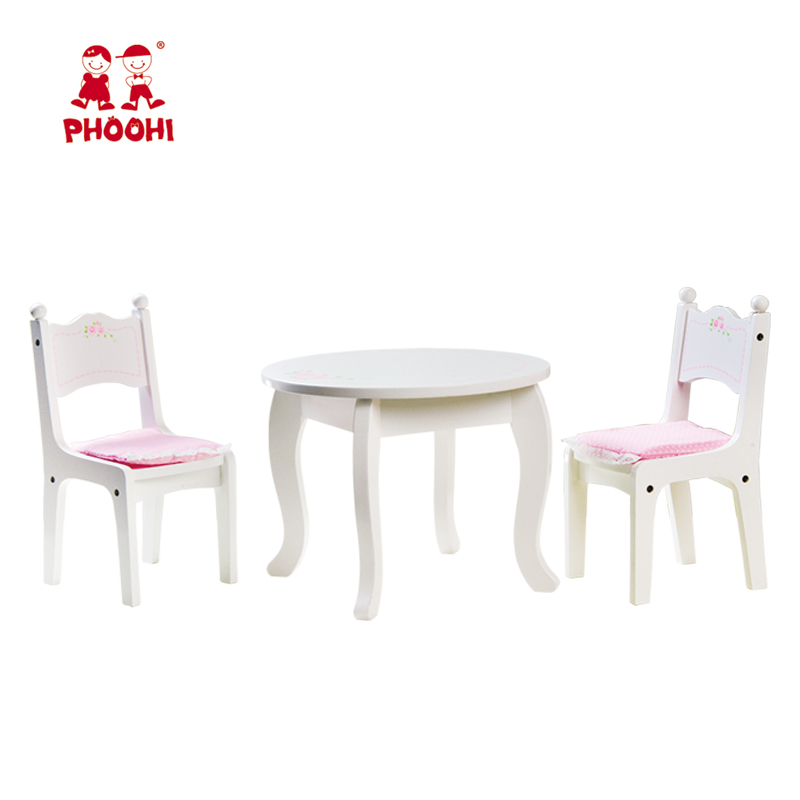 1 wooden doll round table and 2 chairs set wooden doll furniture