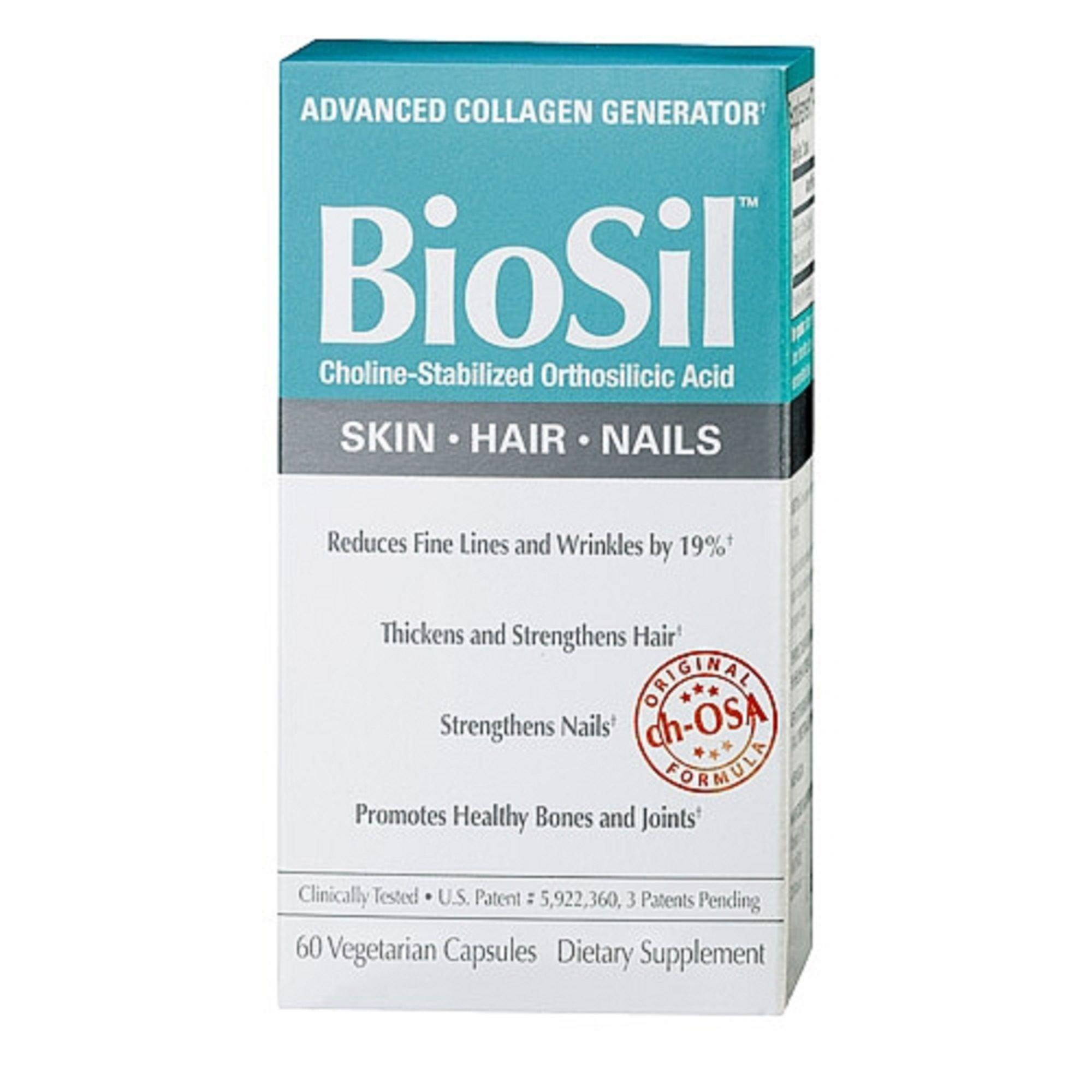 BioSil Advanced Collagen Generator, Reduces Fine Lines Wrinkles, Helps Hair, Nails Bones - 60 Vegetarian Caps