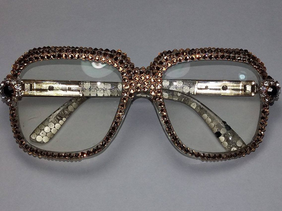 e7a41b2351d Get Quotations · Cazal Style Custom Glasses with Gold Swarovski Elements