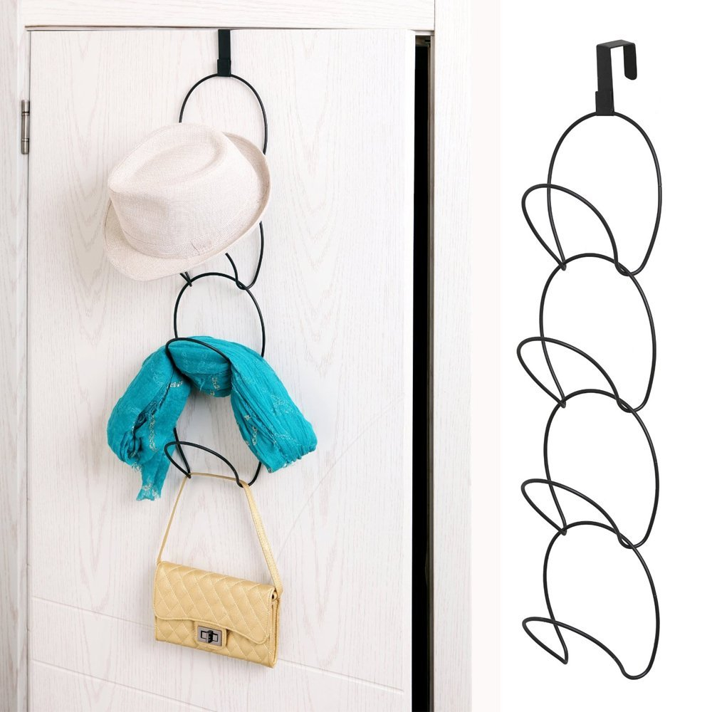 iHappy Black Metal Wire Wall Mounted Stackable Hanging Chain Coat Rack Storage Hook Valentine's Day Gift