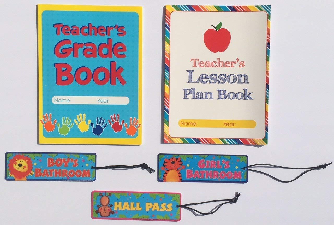 Teacher Grade Lesson Plan Book Teaching School Planner Student Hall Passes Classroom Homeschool Supplies Gifts 5 Piece Set