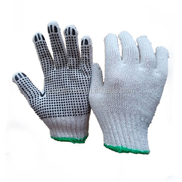 Cheap White Polyester Kitted PVC Dotted Safety Work Gloves