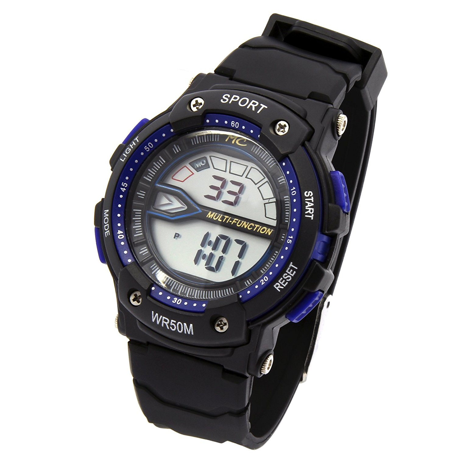 Black Blue Sport Shock Resistant LED Digital Wrist Watch with Alarm Water Proof Watches