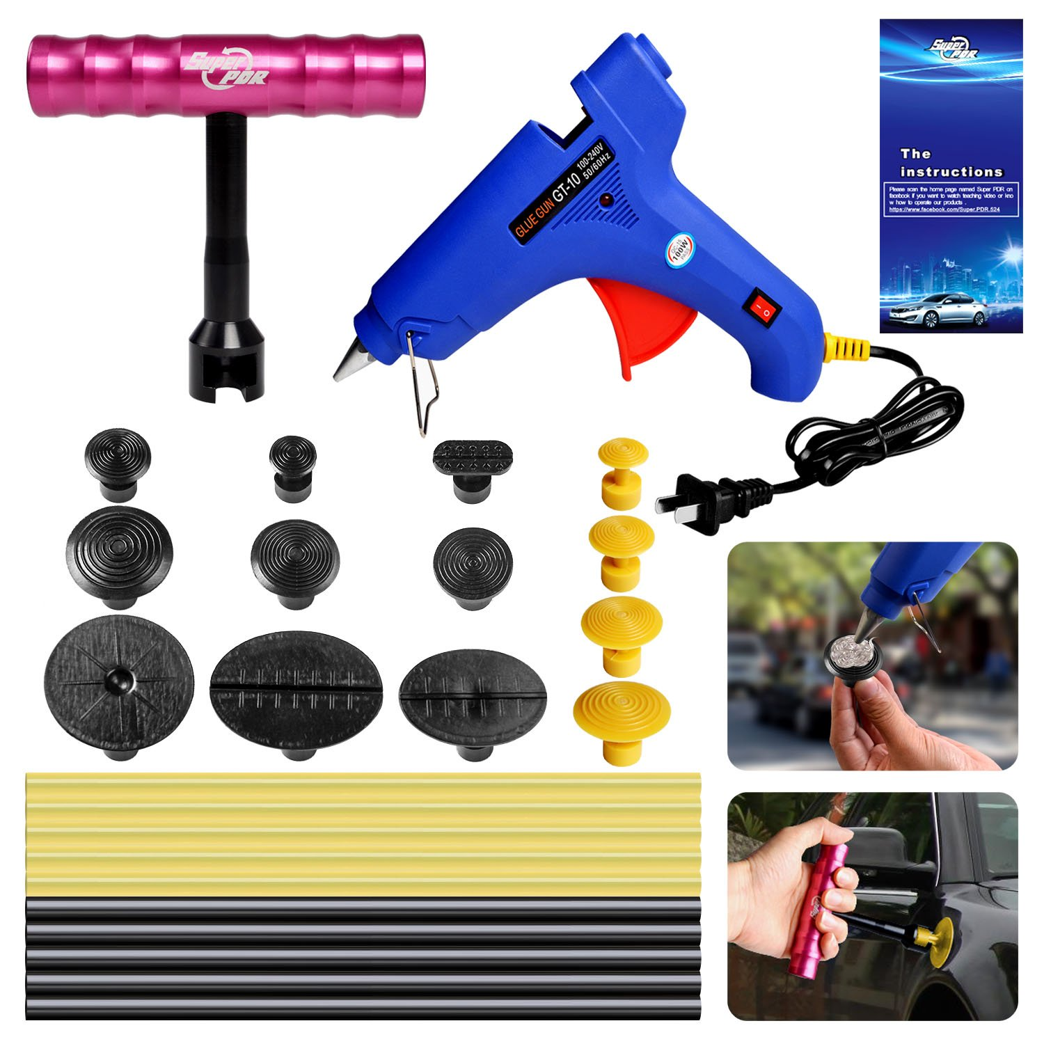 FLY5D/®19Pcs Car Paintless Dent Repair Tools PDR Glue Puller Grip T-handle Dent Puller with 18Pcs Blue Glue Puller