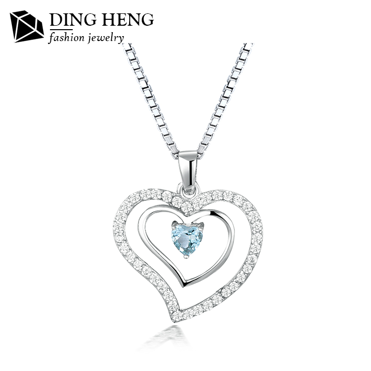 Hot sale latest design charm heart shaped stone pendant silver necklace for ladies