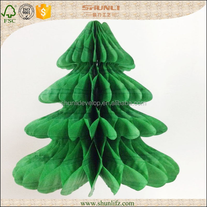 Christmas decorations green tissue paper Honeycomb Christmas trees
