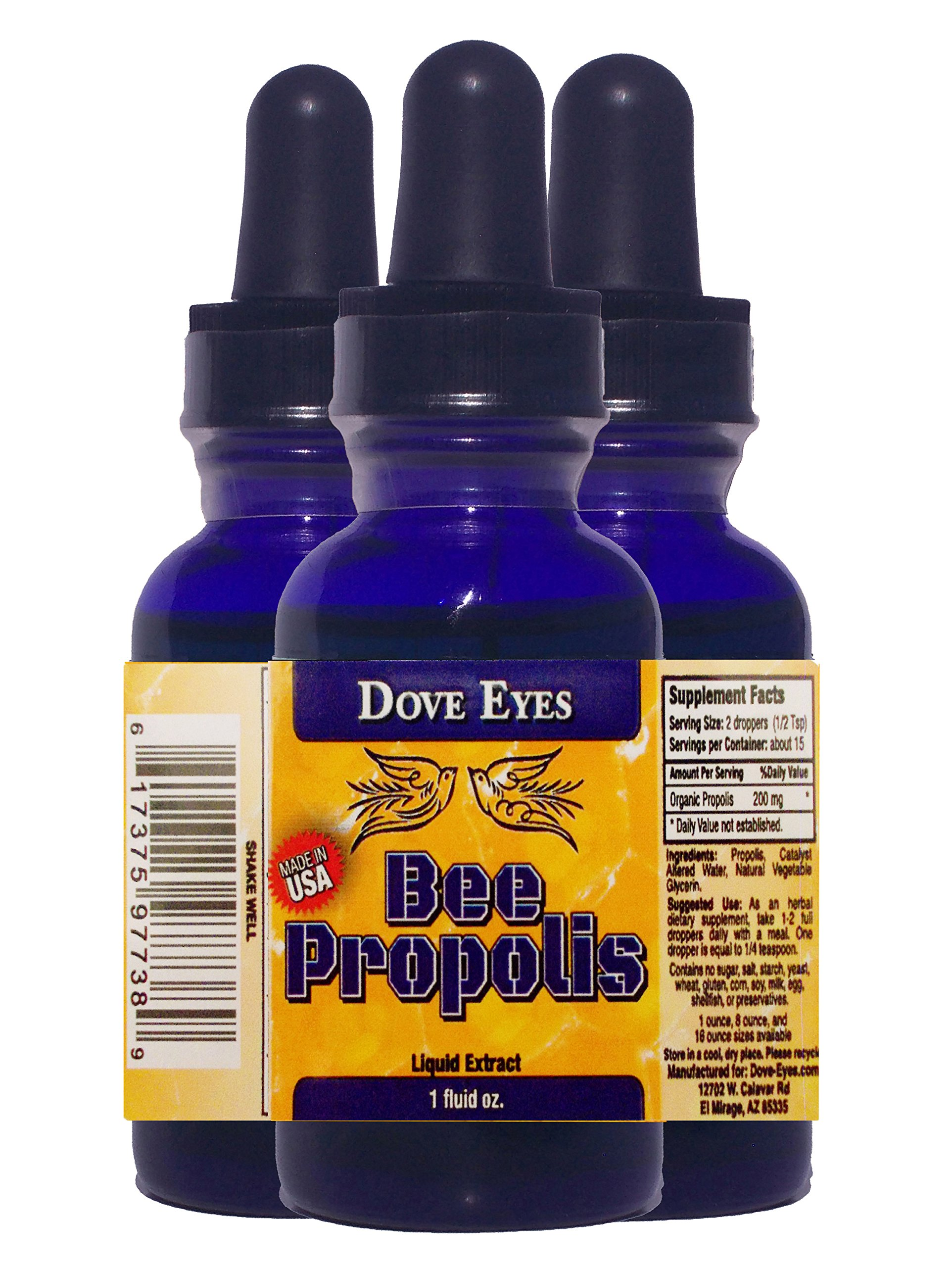 """BEE PROPOLIS from """"DOVE EYES""""- Organic Liquid Extract – Recognized to have Antioxidant, Antibiotic & Antiseptic Qualities – Boost Your System! – Get a Natural System Tune-up Now! MADE IN AMERICA! –Alcohol Free! – Protect Yourself- BUY THIS BEST PROPOLIS BRAND NOW!"""