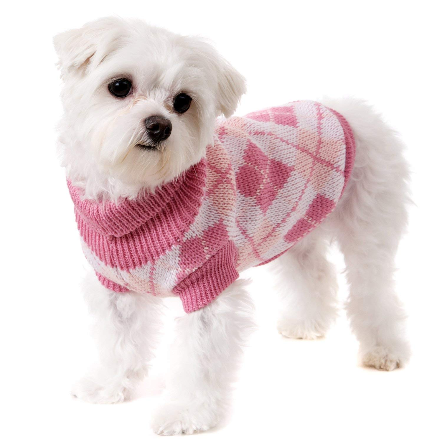 "UrbanPup Pink Argyle Sweater (Large - Dog Body Length: 14"" / 35cm)"