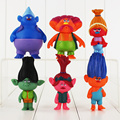 Great 6Pcs lot Dreamworks Movie Trolls Poppy DJ Suki Guy Diamond Cooper Branch Creek PVC Action