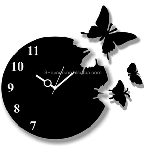 custom black Butterfly Laser Cut Acrylic 3d Wall Clock plastic laser cut panel home decoration