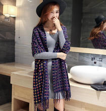 New Style Winter Autumn Tassel Cashmere Feel Woven Tartan Acrylic Scarf