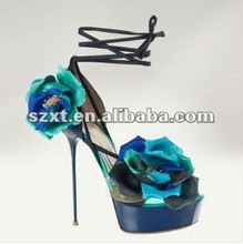 2012 platform ladies high heel sandals/ fashion women shoes blue XT-SH029