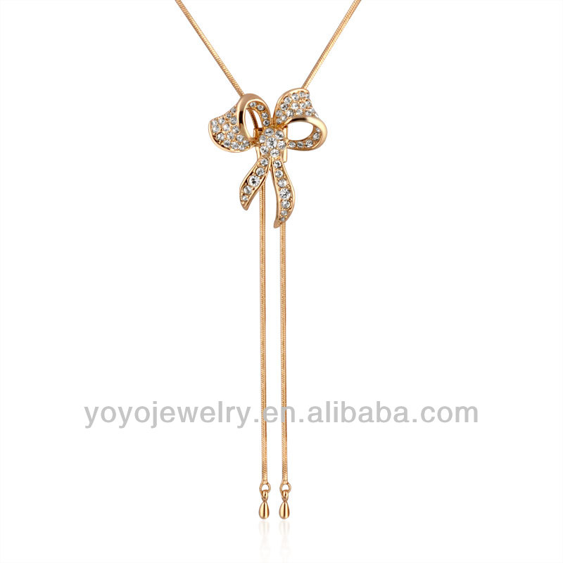 Rose Gold Butterfly Pendant Necklace With Crystal