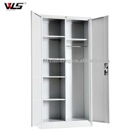 Metal clothes cabinet steel wardrobe with book shelf