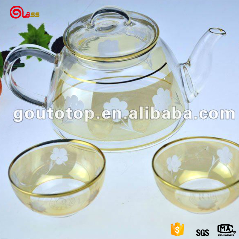 tea set/Glass tea set /59603/100%purity gold/hand making decoration
