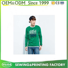 Custom Logo Printed Promotional 180gsm Combed Cotton Long Sleeve T Shirt For Men
