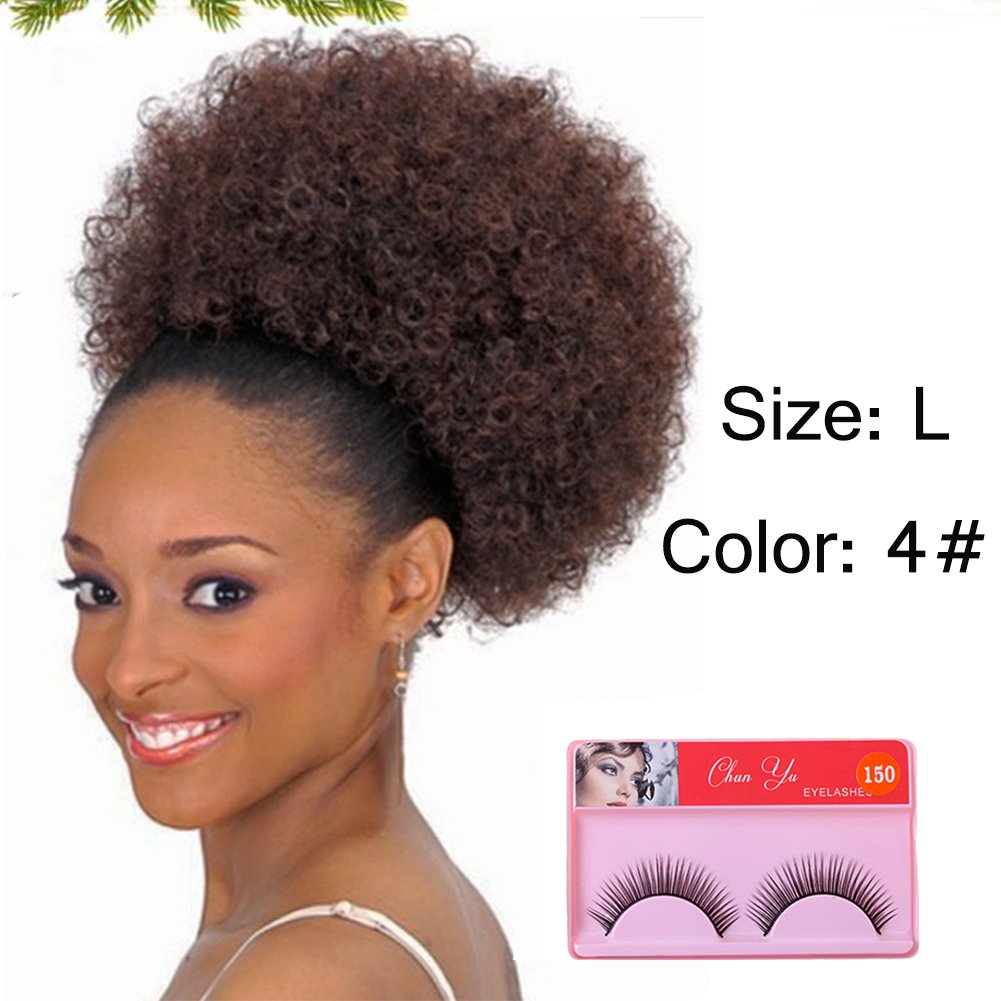 Large Synthetic Curly Ponytail Afro Kinky Curly Hair Extension Drawstring Ponytail Puff Donut Chignon Wig African American Black Women Short Hairpieces Afro Pom Pom(Color 4# Size:L)