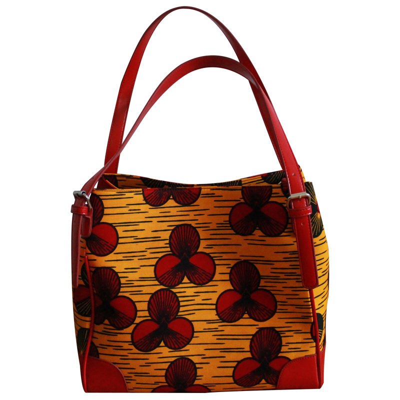 Free shipping!2015 new design!Hot sale!High quality bucket bag.African wax print fabric handbag.Your fashion choice.Orange.