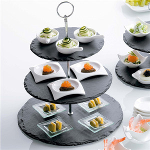 High quality 3 tiers black round slate serving tray wedding cake stand