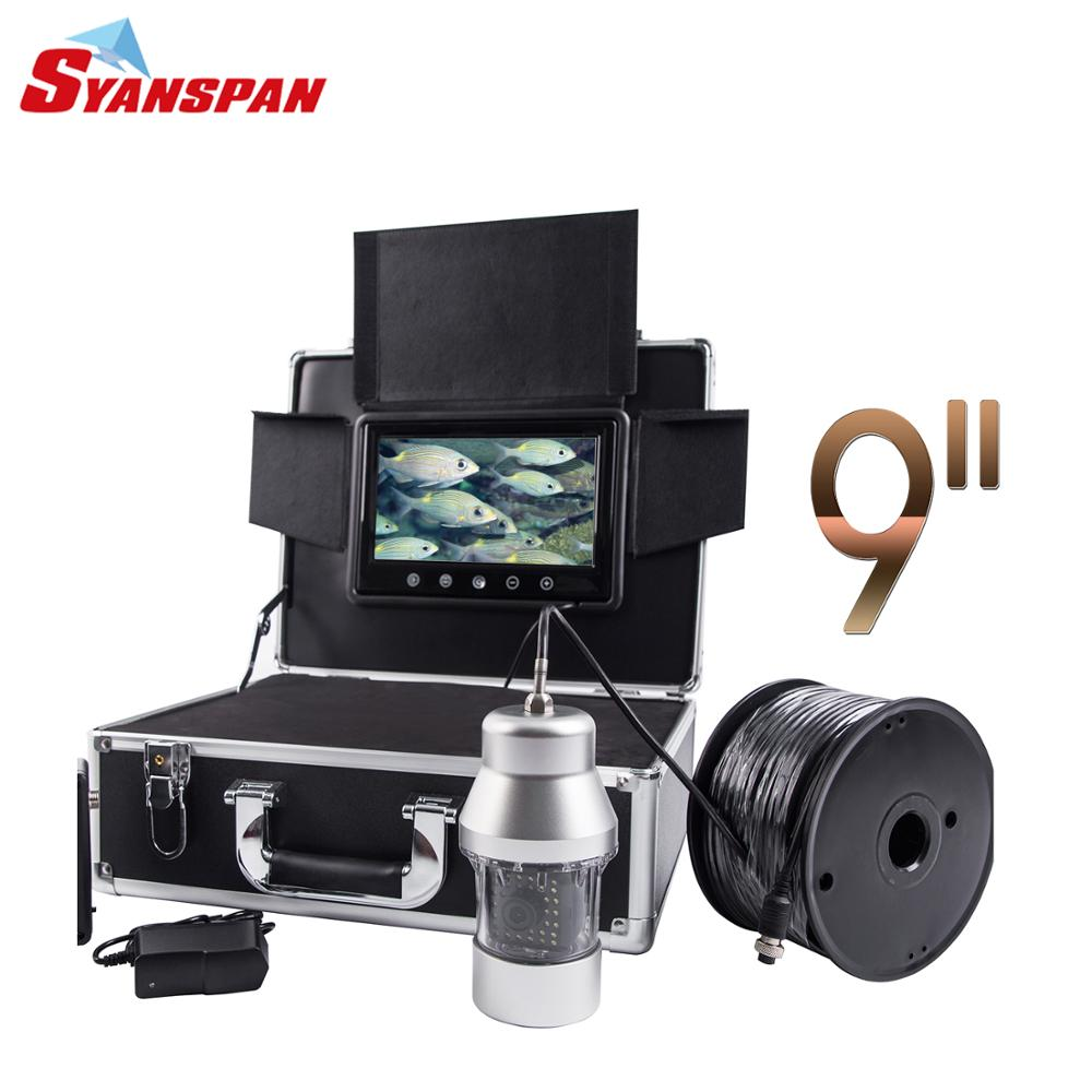 100M Waterproof IP68 Fish Finder 9LCD Monitor Video Camera HD 1000TVL Underwater Ice Fishing 36 LEDs IR 360 Degree Rotating