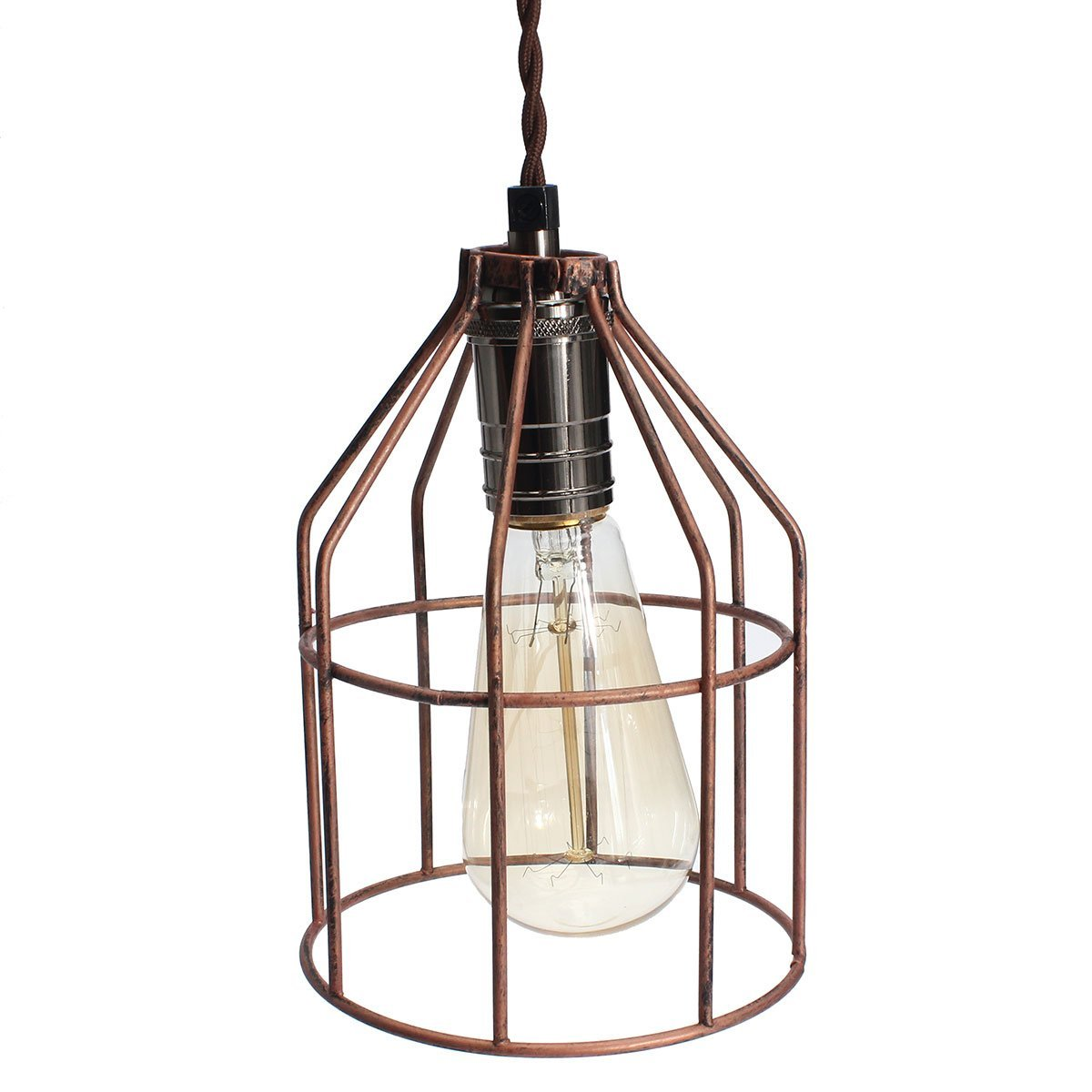 Buy jeteven vintage steel industrial wire lampshade bulb cage guard jeteven vintage steel industrial wire lampshade bulb cage guard hanging pendant string lights for e27 red keyboard keysfo Gallery